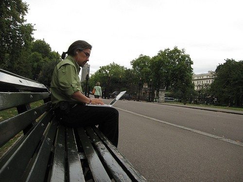 Alex Soojung-Kim Pang Writing on a park bench in London via the blog Relevant History