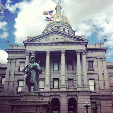 Monument to Union soldiers from Colorado in front of the capitol building in Denver