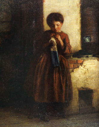 Detail from Eastman Johnson, *Knitting for the Soldiers* (1861), on permanent loan from New York Public Library