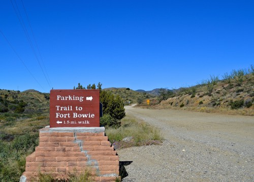 The parking lot and trailhead, Fort Bowie National Historic Site.