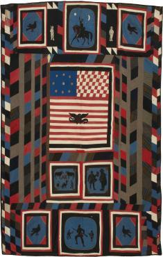 Quilt illustrating the life of a Zouave (made out of Zouave uniform cloth)