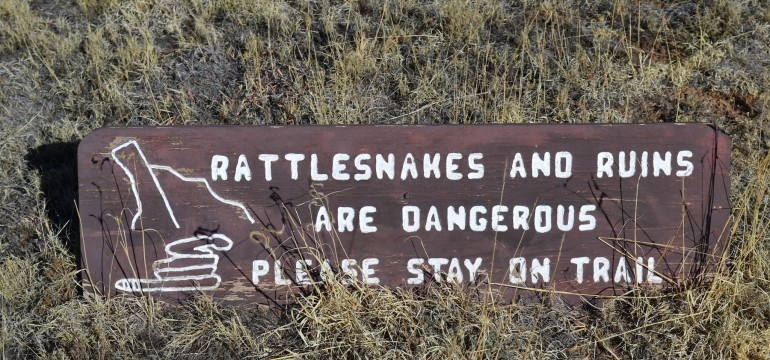 Warning sign posted at the Fort Union National Monument, New Mexico.