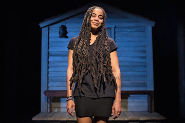Suzan-Lori Parks on the set of *Father Comes Home* in New York. Image credit Sara Krulwich, *New York Times*