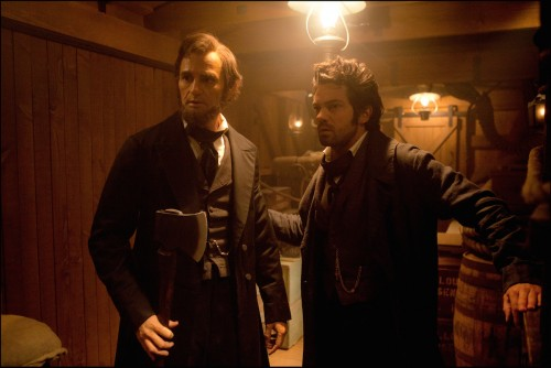 Abe and Henry make bromantic plans on board a train in *Abraham Lincoln: Vampire Hunter*