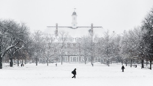 Illini Union during snow shower.